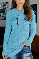 v-neck long-sleeved solid color T-shirt