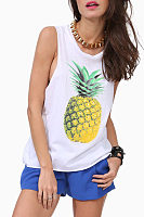 Round Neck  Pineapple Printed T-Shirts