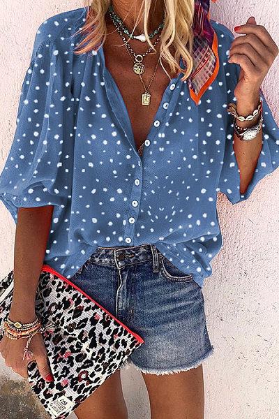 Sweet Polka Dot Turndown Collar Loose Chiffon Shirt