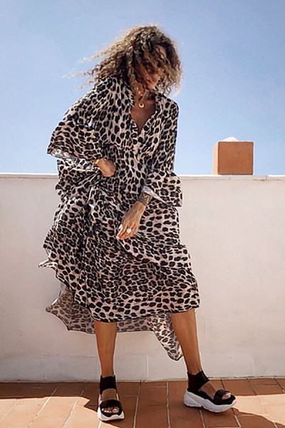 Romantic Leopard Print Ruffled Loose Dress