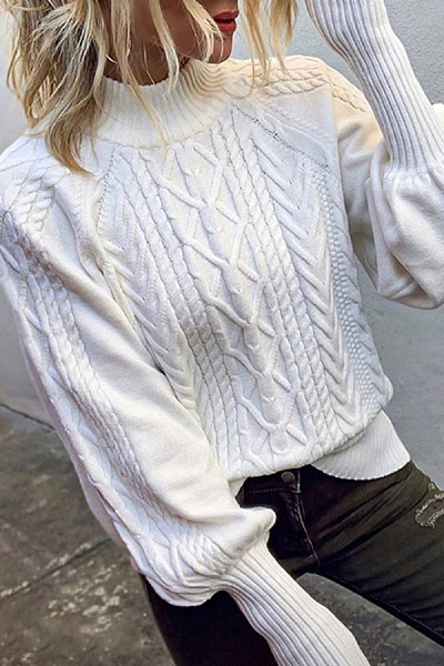 Fashion Pure Color Semi-High-Neck Sweater