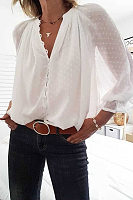V Neck Decorative Button Casual Blouses