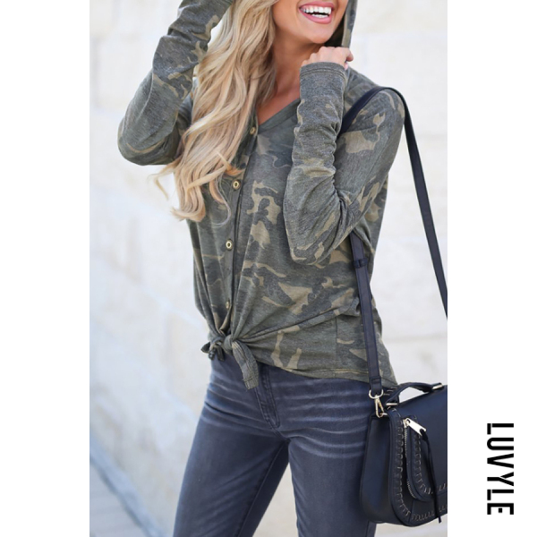 Green Hooded Single Breasted Camouflage Hoodies Green Hooded Single Breasted Camouflage Hoodies