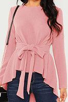 Round  Neck  Patchwork  Elegant  Plain Lace Up  Long Sleeve  Blouse
