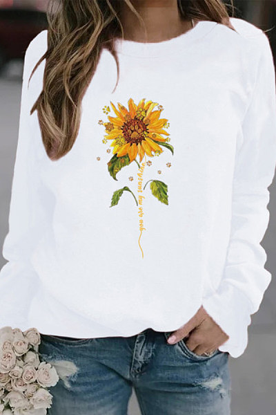 Casual sunflower print crew neck sweatshirt