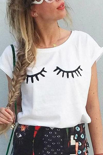 Round Neck Eyelash Casual T-Shirt