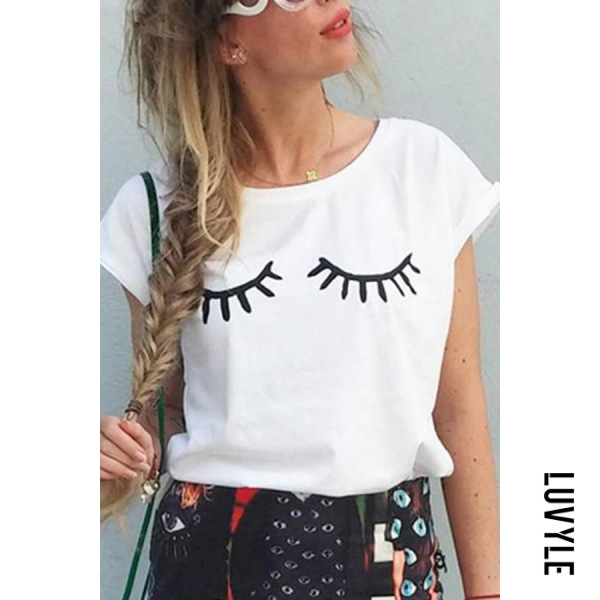 White Round Neck Eyelash Casual T-Shirt White Round Neck Eyelash Casual T-Shirt