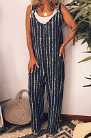 Casual Vertical Striped Strap Jumpsuit