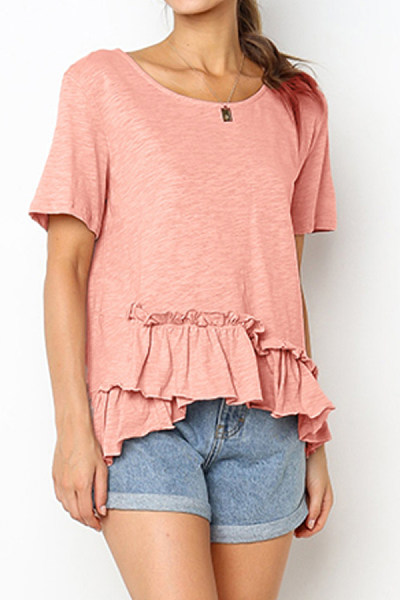 Round Neck  Ruched  Plain T-Shirts