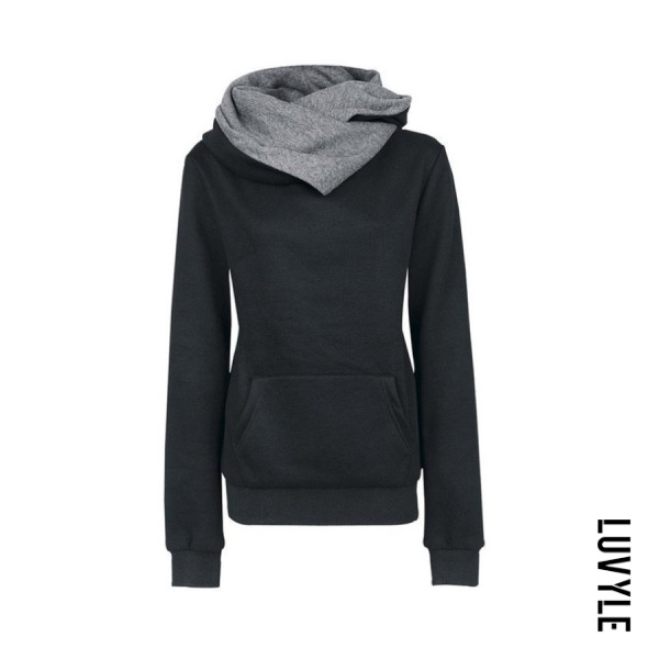 Black Hooded Drawstring Plain Hoodies Black Hooded Drawstring Plain Hoodies