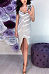 Spaghetti Strap  Single Breasted Slit  Striped  Sleeveless Bodycon Dresses