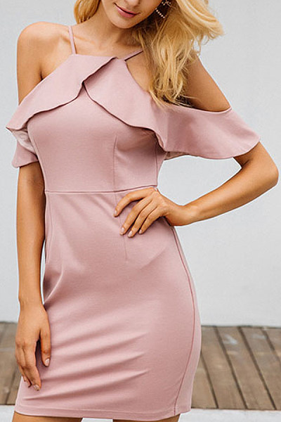 Halter  Plain  Short Sleeve Bodycon Dresses