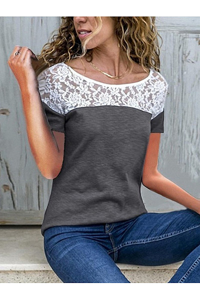 Round Neck Lace Patchwork Short Sleeve Casual T-Shirts