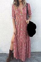 Vintage Printed Long Sleeve Split Dress