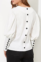 V Neck Decorative Buttons Plain Blouse
