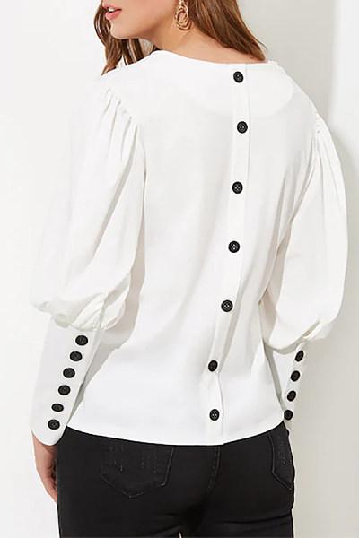 V Neck Decorative Buttons Plain Blouse