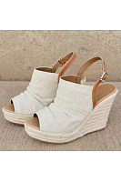 Color Block  High Heeled  Linen  Ankle Strap  Peep Toe  Casual Peep-Toe Wedges