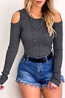 Round Neck Open Shoulder Plain Sexy Sweaters