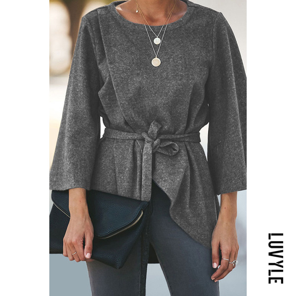 Gray Round Neck Flare Sleeve Plain Belt Casual T-Shirts Gray Round Neck Flare Sleeve Plain Belt Casual T-Shirts