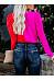 Color Block Long Sleeve V Neck Fashion Blouses