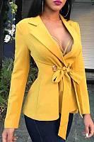 Fold Over Collar  Belt  Plain Blazers