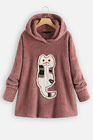 Cat Printed Long Sleeve Plain Hoody