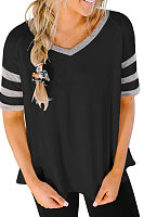 V Neck  Striped T-Shirts