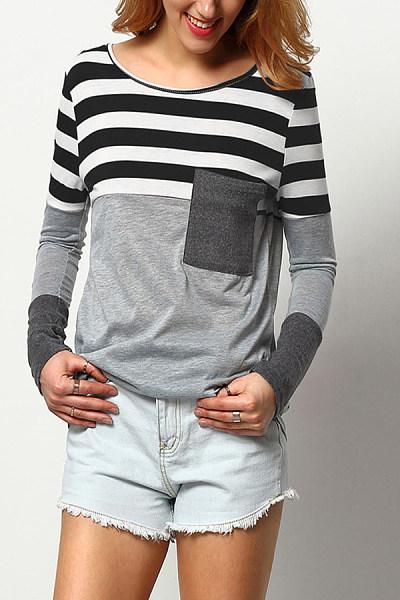 Round Neck  Patchwork  Color Block Shirts