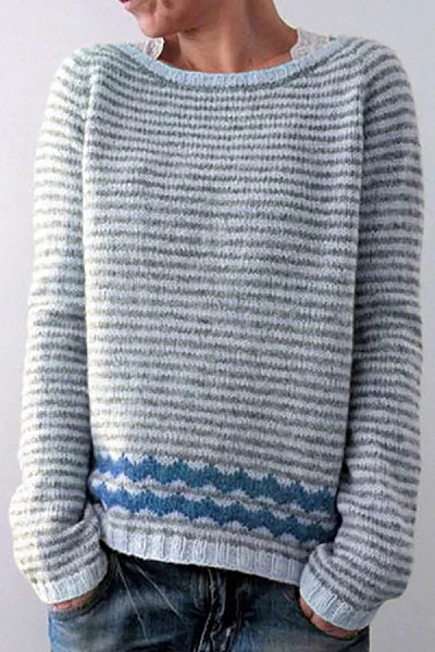 Fashion Classic Round Neck Colouring Sweater