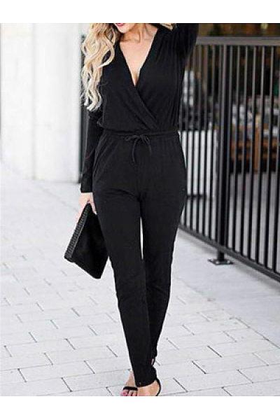 Women Casual Plain Jumpsuits