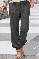 Solid Color Elastic Loose Pants