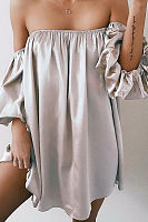 Strapless  Backless  Plain Casual Dresses