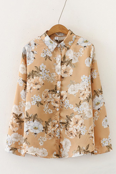 Women's casual lapel single-breasted printed shirt