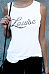 Round Neck  Letters Sleeveless Fitted T-Shirts