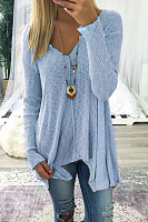 V Neck  Asymmetric Hem  Plain T-Shirts