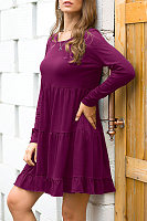 Casual Round Neck Solid Color Pleated Ruffled Long-Sleeved Dress