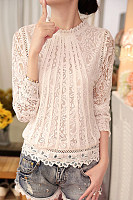 Crew Neck  Hollow Out Lace Blouses