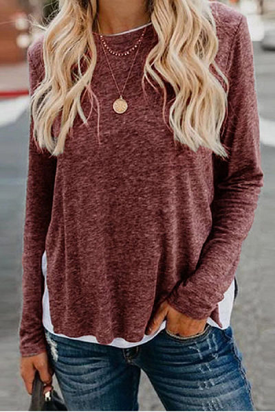 Casual round neck solid color loose top
