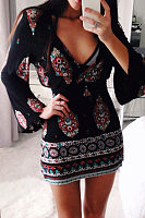 Deep V Neck  Vintage  Bell Sleeve Bodycon Dresses