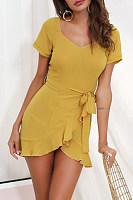 Round Neck  Asymmetric Hem  Plain  Short Sleeve Bodycon Dresses