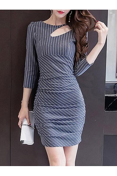 Asymmetric Neck  Striped  Blend Bodycon Dress