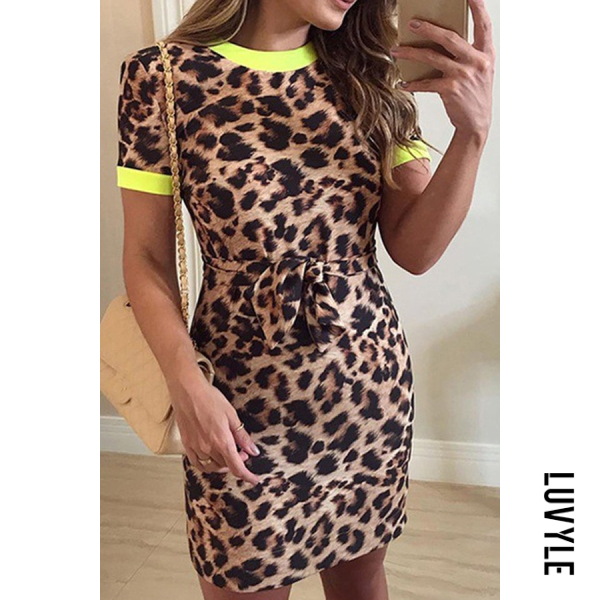 Brown Round Neck Leopard Printed Short Sleeve Bodycon Dresses Brown Round Neck Leopard Printed Short Sleeve Bodycon Dresses