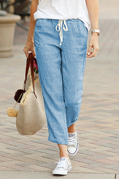 Womens Casual Solid Colour Loose Elastic Pants