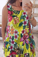 Floral Sleeveless Casual Blouse