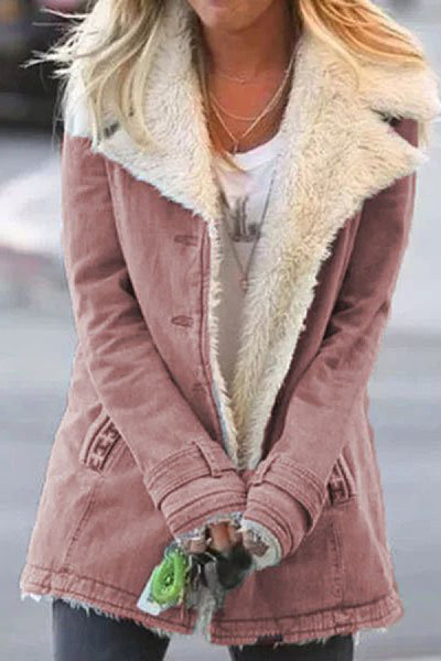 Casual plush floppy collar solid color female jacket