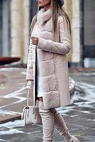 Faux Fur Collar  Single Breasted  Plain Outerwear