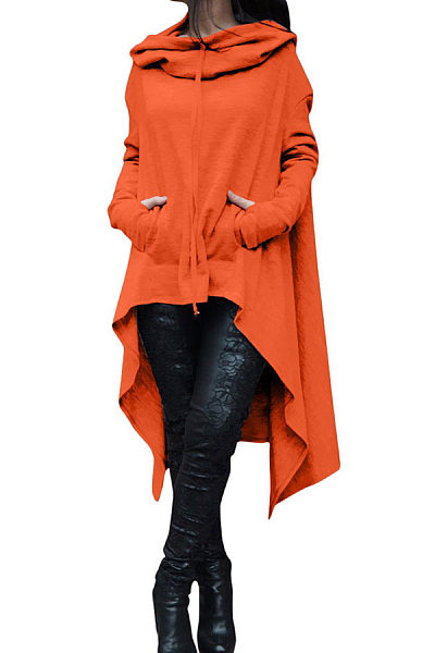 Hooded  Asymmetric Hem Drawstring  Plain Sweatshirts