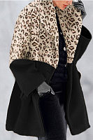 Leopard Print Color Fashion Shawl Collar Coat