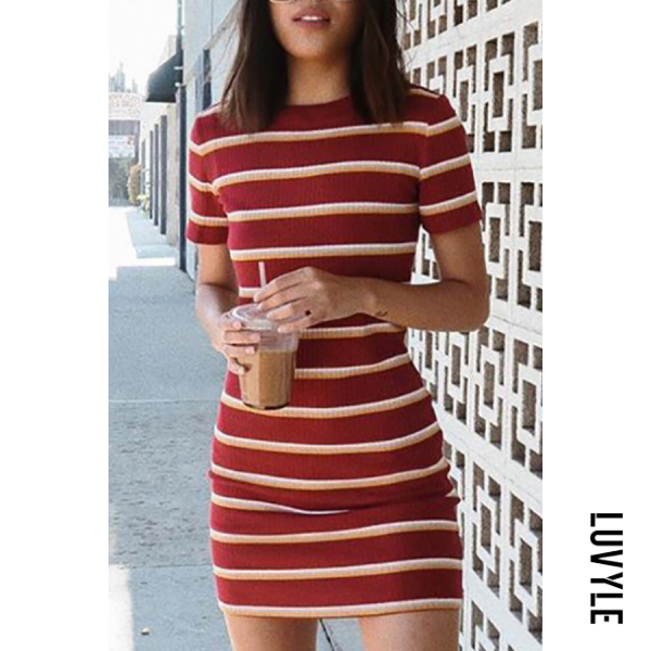 Red Round Neck Striped Short Sleeve Elegant Bodycon Dresses Red Round Neck Striped Short Sleeve Elegant Bodycon Dresses