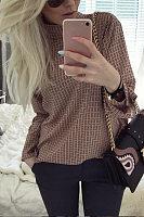 Short High Collar Plaid Long Sleeve Blouse
